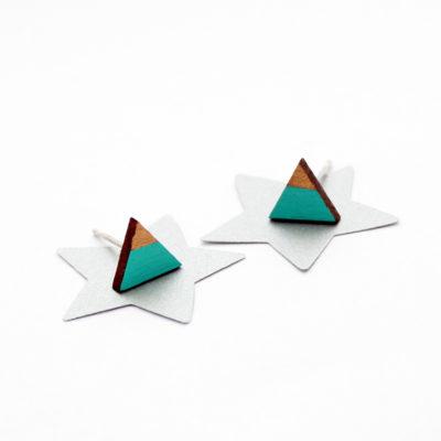 menta arany geometrikus háromszög fülbevaló