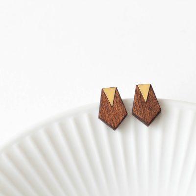 Theia Design geometrikus mahagóni fülbevaló