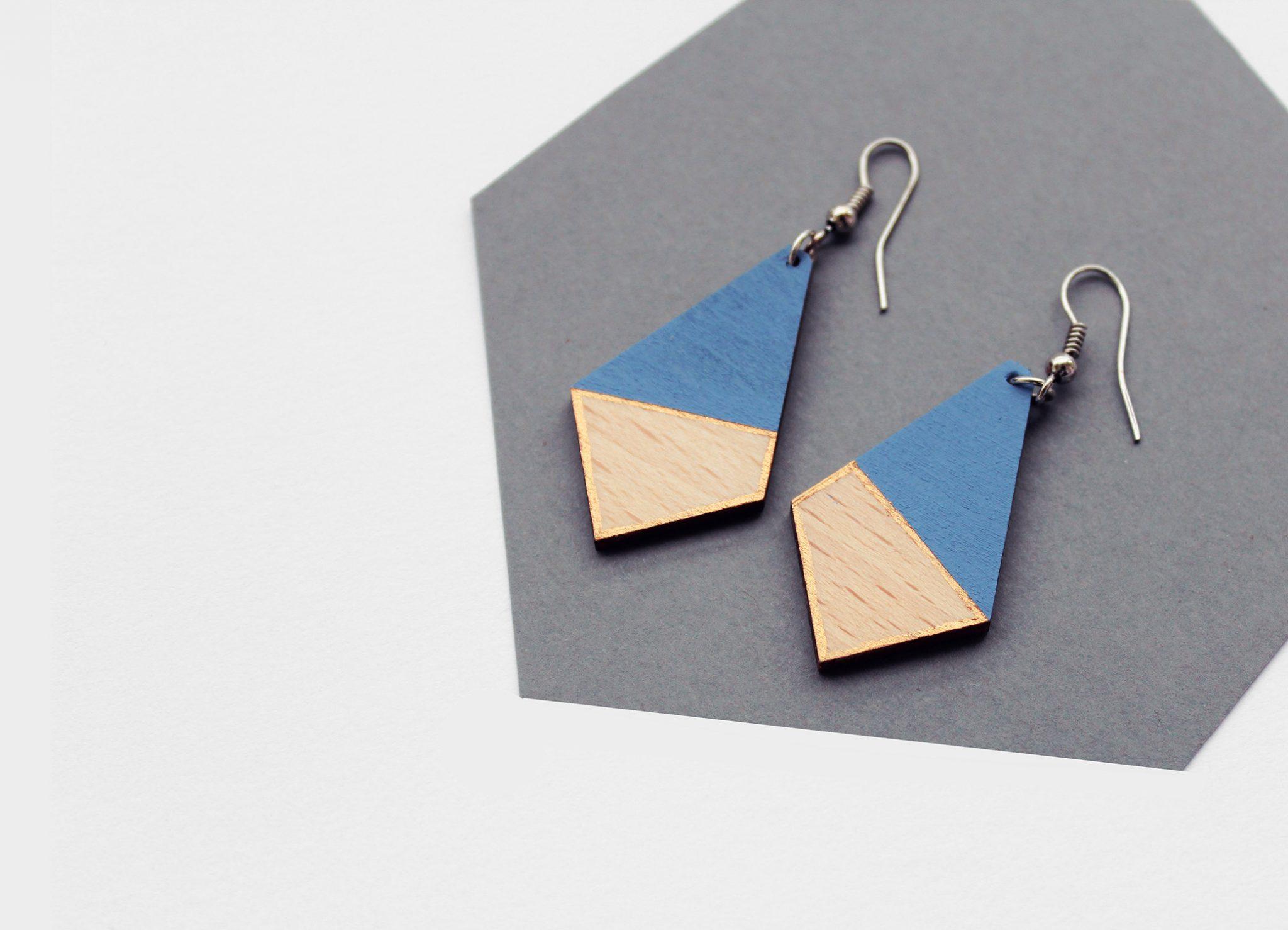kék fa fülbevaló